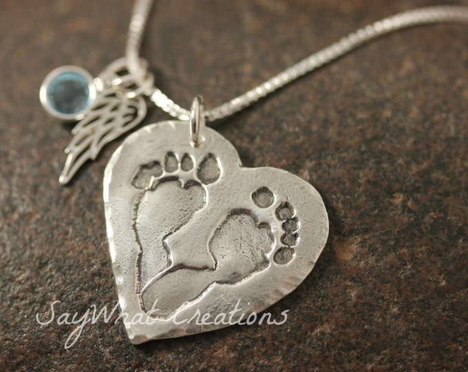 Your baby or child's ACTUAL footprints or hand prints on a silver necklace Perfect for angel babies
