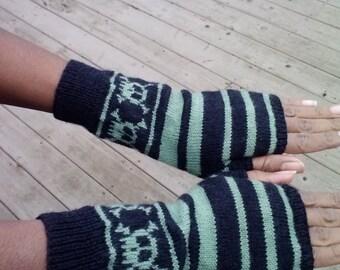Long fingerless gloves, stripes and band of skulls, wool blend, adult size medium/large
