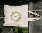 Floral Initial Letter Wreath - Bridesmaid Gift Bags - Welcome Bags for Wedding -You choose letters- Custom Tote Bags