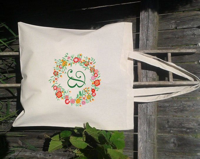 Wedding Tote, Floral Initial Letter Wreath - Bridesmaid Gift Bags - Welcome Bags for Wedding -You choose letters- Custom Tote Bags