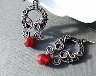 Red copper earrings, rustic copper jewelry, statement dangle earrings, Valentines gift for girlfriend