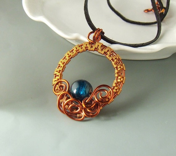 Teal blue necklace, glass bead jewelry, handmade copper enameled wire wrapped jewelry