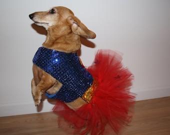 Dog / Dachshund Superhero Super Girl Costume / Tutu Dress. Comes in Toy, Small & Medium Sizes