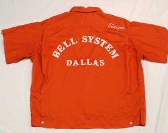 Bowling Shirt Vintage Orange Hilton Personalized Curtis Henigan Bell Systems Dallas Texas 1950s 1960s Rockabilly Medium to Large Telephone