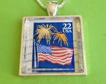 USA Flag Stamp Pendant Necklace