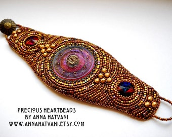 Bead Embroidery Bracelet  Cuff Gold  Bronze Violet - bead embroidered  - Volcano Cuff -  fashion - OOAK