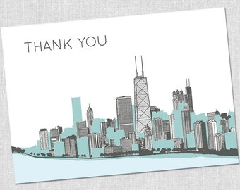 Chicago Cityscape Thank You Notes - Set of 10