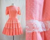 Vintage 50s Swiss Dot Pink Dress / Tiered Cupcake Dress / Size M