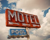 Abandoned Motel and Pool Neon Sign - Retro Home Decor - Motel Sign - Retro Wall Art - Route 66 Travel - Fine Art Photography