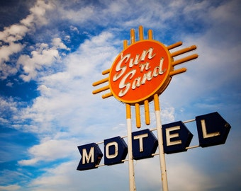 Route 66 Sun 'N Sand Motel Vintage Neon Sign - Santa Rosa New Mexico - Home Decor - Blue and Orange Art - Fine Art Photography