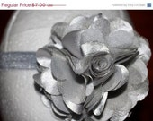 Boutique Baby Girl GreybSatin and Tulle Puff Flower on a Grey Elastic Headband Perfect for Photo Props Infants Girls