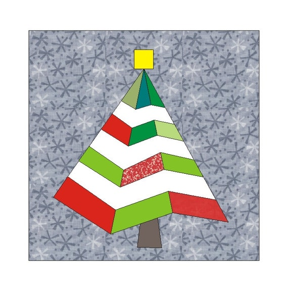 Paper Pieced Christmas Tree Pattern: Christmas In July Tree Paper Pieced Quilt Block By