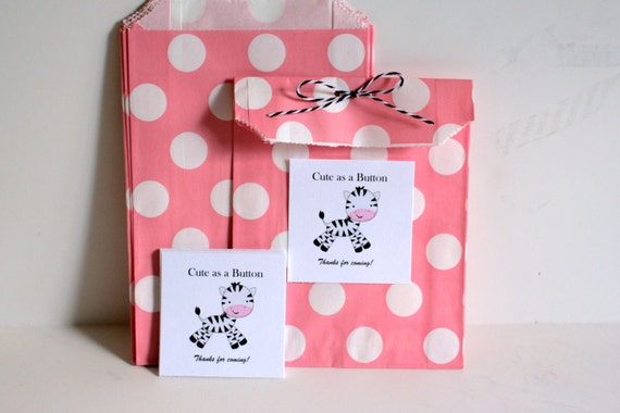 bag pink polka dot bag baby shower treat bag baby shower treat bag