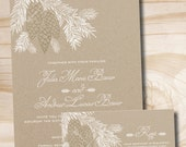 Rustic Pinecone Wedding Invitation and Response Card Sample - Printed with Envelopes