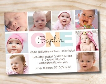 BOLD BIRTHDAY First Birthday Party Event Printable Invitation/One Year Old/Boy/Girl - You Print