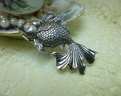 1-Extra Large Silver Goldfish Charm Pendant Drop 32 X 55mm