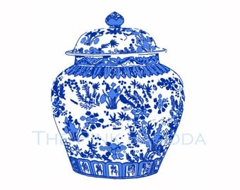 Blue and White Chinese Ginger Jar on White 12x12 Giclee