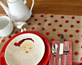 Burlap with Metallic Red Dots Table Runner - NOT LINED - With Red Serged Seams - 12.5 in. by 72 in