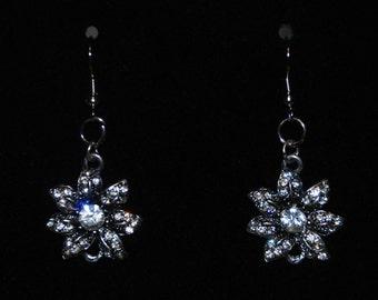 Clear Glass and Silver Metal Flower Dangle Hook Earrings