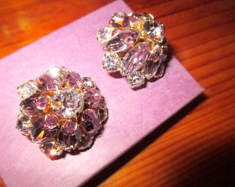 Mint Flawless ALEXANDRITE, LAVENDER, AMETHYST Highly Domed Spectacular Vintage Rhinestone Clip Multi Dimensional Earrings - 1940's