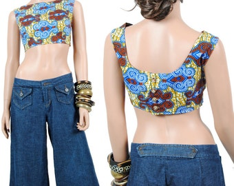 Crop Top - Midriff Crop Top - African Print Top - L - Large