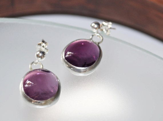 Purple glass earrings,sterling silver ball posts and backs  - En Bleu et Verre