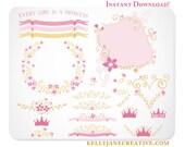 Floral Princess Clipart  - Blog Graphics - Instant Download