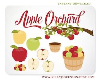 Apple Clipart, Apple Branch, Apple Basket, Apple Orchard Back to School Design Elements - Instant Download