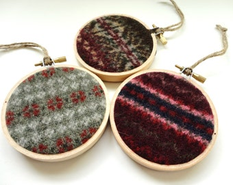 Rustic Christmas Hoop Ornaments / Homespun Christmas / Felted Sweater Wool by WormeWoole