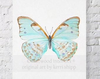 Butterfly Print in Celadon - Petit Papillon Series