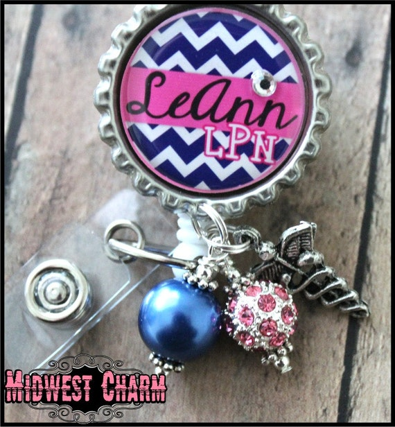 personalized retractable badge reel with spring clip  teacher
