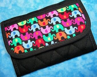 Women Wallet - Credit Card Wallet Elephant Small Wallet Credit Card Holder Business Card Holder Ladies Wallet Vegan Wallet Fabric Velcro