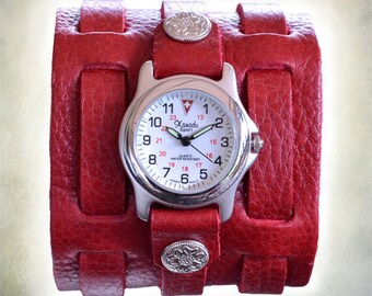 Women's Red 3 Strap Leather Cuff Watch