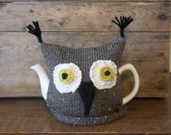 Knit Owl Teacosy, Handmade Knit Owl Tea Cozy, Brown Owl Cosy, Kitchen Accessory, Retro Tea Cosy, Kitchen Decor
