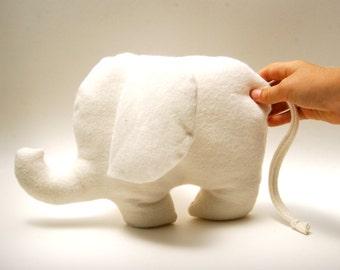 Organic Baby - Elephant - Stuffed Toy - Natural Color Organic Cotton Fleece - Eco Friendly