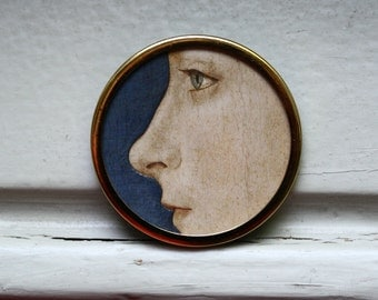 Wearable Art Brooch / Womans Portrait / Old Master Oil Painting