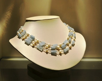 3-strand Blue Aquamarine alternating with fresh water pearls necklace