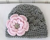 Crochet Girls Hat - Baby Hat - Toddler Hat - Winter Hat - Light Grey (Gray) Pink Flower with Rhinestone - in sizes Newborn to 3 Years