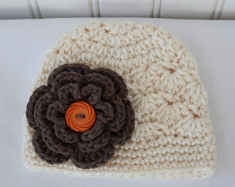 Baby Hat - Crochet Hat - Girls Hat - Toddler Hat - Newborn Hat - Fall Hat - Off White (Cream) with Brown Flower - sizes Newborn to 3 Years