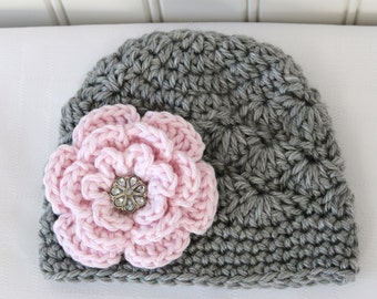 Crochet Girls Hat - Baby Hat - Newborn Hat - Winter Hat - Light Grey (Gray) Pink Flower with Rhinestone - in sizes Newborn to 3 Years
