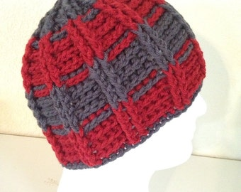 Avalanche striped textured beanie- adult size