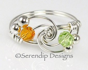 Couples Birthstone Ring, Sterling Silver Two Swarovski Crystal Argentium Silver Wire Wrapped Mothers Ring