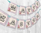 HAPPY EASTER BANNER - Vintage Happy Easter Banner Printable Instant Download - Cutie Putti Paperie