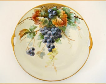 Cabinet Plate Antique Hand Painted Porcelain Still Life Grapes ~  Signed W.Pfohl -   August SALE