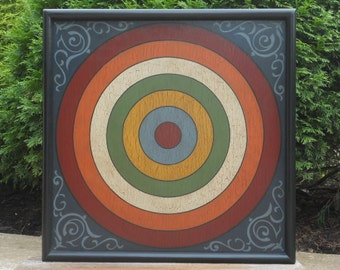 "19"", Wood, Penny Pitch, Game Board, Folk Art, Gameboard"