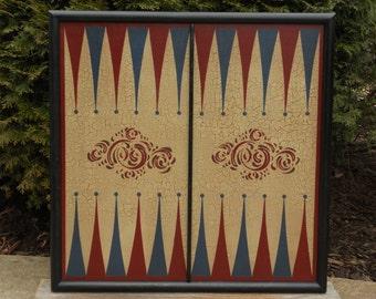 Backgammon, Game Board, Primitive, Game Boards, Wood, Wooden, Hand Painted, Folk Art