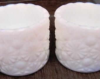 CLEARANCE    Degenhart Milk Glass Daisy and Button Salt Cellars