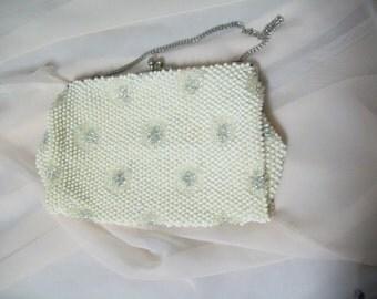 Vintage Mid Century White Beaded Handbag,Sparkly  Rhinestone Flowers, Retro, Chain