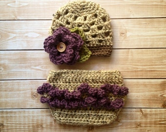 The Sofia Flower Beanie in Oatmeal, Dusty Purple and Taupe with Matching Diaper Cover Available in Newborn to 24 Months Size- MADE TO ORDER