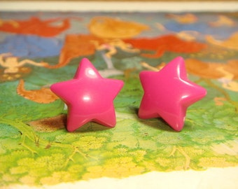 Candy Hot Pink Star Stud/Post Earrings (E321)